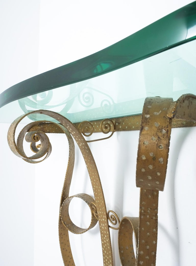 Golden Pier Luigi Colli Iron Console Table with Thick Glass Top, Italy, 1950 In Good Condition For Sale In Vienna, AT