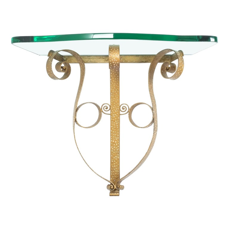 Golden Pier Luigi Colli Iron Console Table with Thick Glass Top, Italy, 1950 For Sale