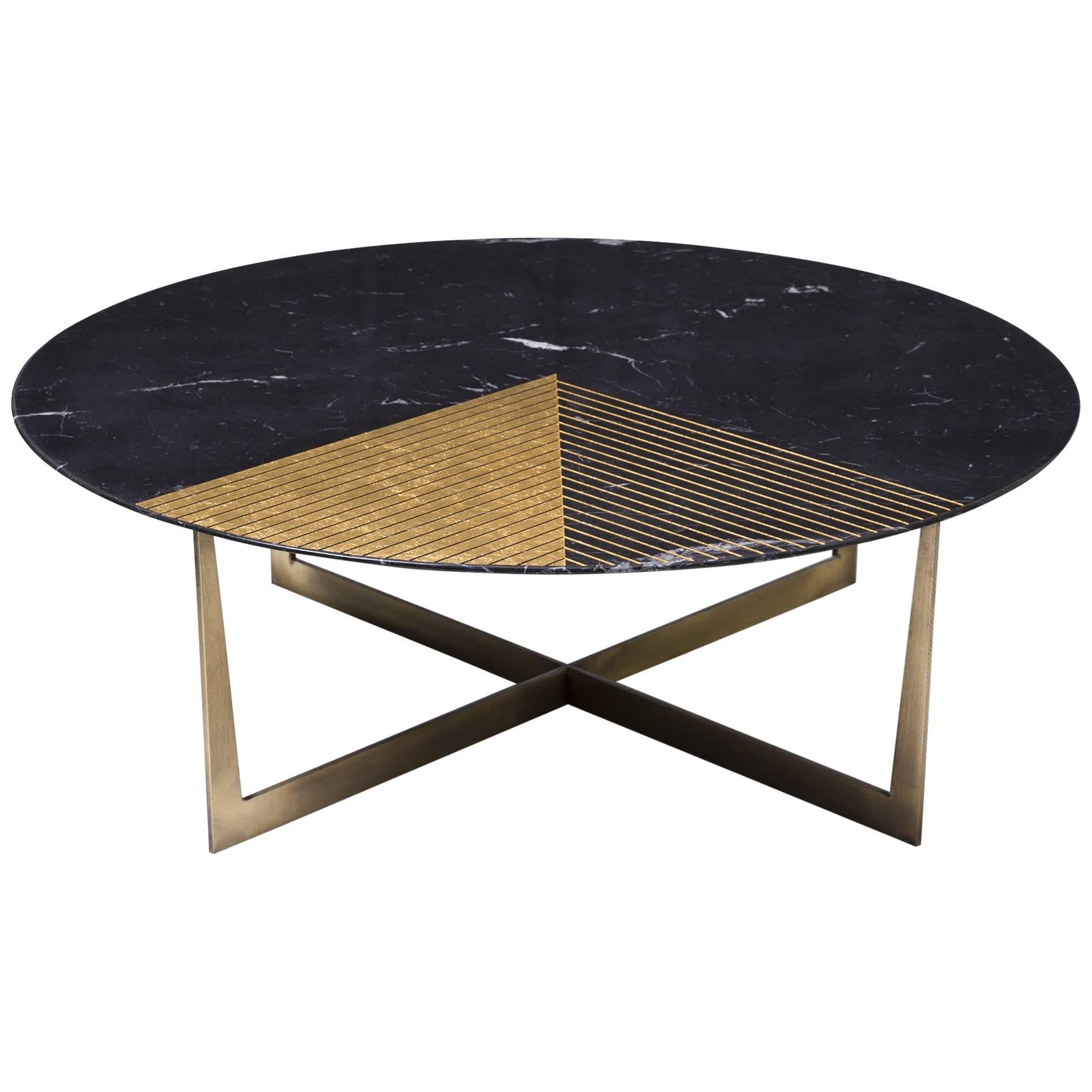 Golden Radius Coffee Table in Marquino and Gold Leaf by Alex Mint