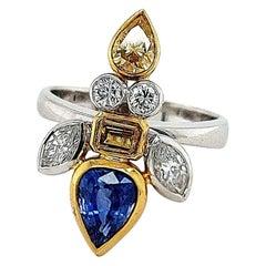 Golden Ring Depicting a Fish, Set with 1.42 Carat Diamonds 1.78 Ceylon Sapphires