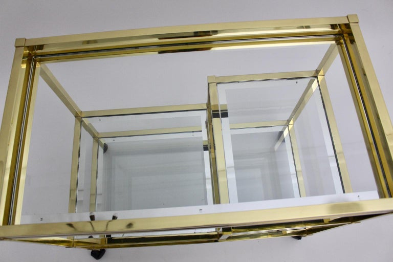 Golden Metal and Glass Vintage Bar Cart in the style of Romeo Rega Italy, 1970s For Sale 5