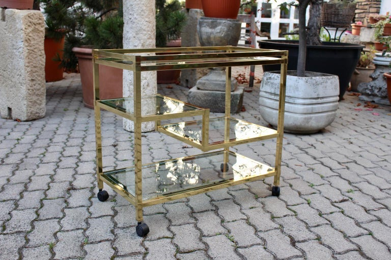 Golden Metal and Glass Vintage Bar Cart in the style of Romeo Rega Italy, 1970s For Sale 6