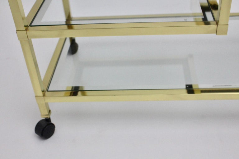 Golden Metal and Glass Vintage Bar Cart in the style of Romeo Rega Italy, 1970s For Sale 7