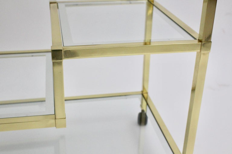 Golden Metal and Glass Vintage Bar Cart in the style of Romeo Rega Italy, 1970s For Sale 9