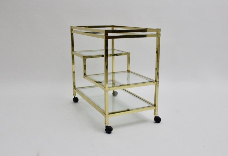 Golden Metal and Glass Vintage Bar Cart in the style of Romeo Rega Italy, 1970s For Sale 10