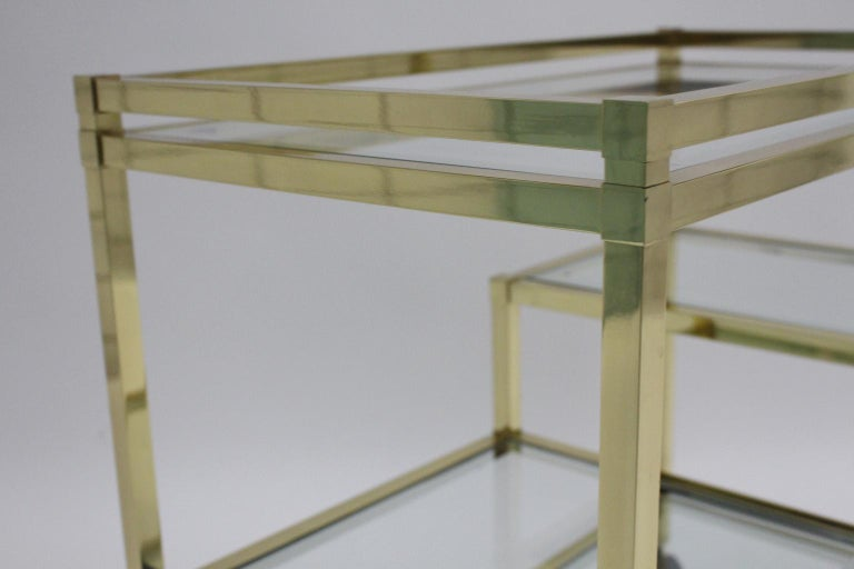 Golden Metal and Glass Vintage Bar Cart in the style of Romeo Rega Italy, 1970s For Sale 11