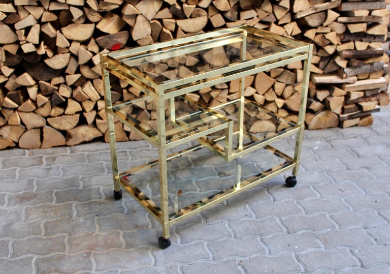 Golden Metal and Glass Vintage Bar Cart in the style of Romeo Rega Italy, 1970s For Sale 13