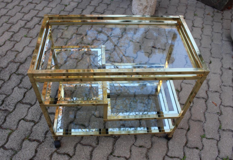 Italian Golden Metal and Glass Vintage Bar Cart in the style of Romeo Rega Italy, 1970s For Sale