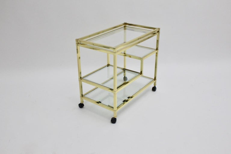 Golden Metal and Glass Vintage Bar Cart in the style of Romeo Rega Italy, 1970s In Good Condition For Sale In Vienna, AT