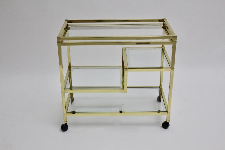 Late 20th Century Golden Metal and Glass Vintage Bar Cart in the style of Romeo Rega Italy, 1970s For Sale