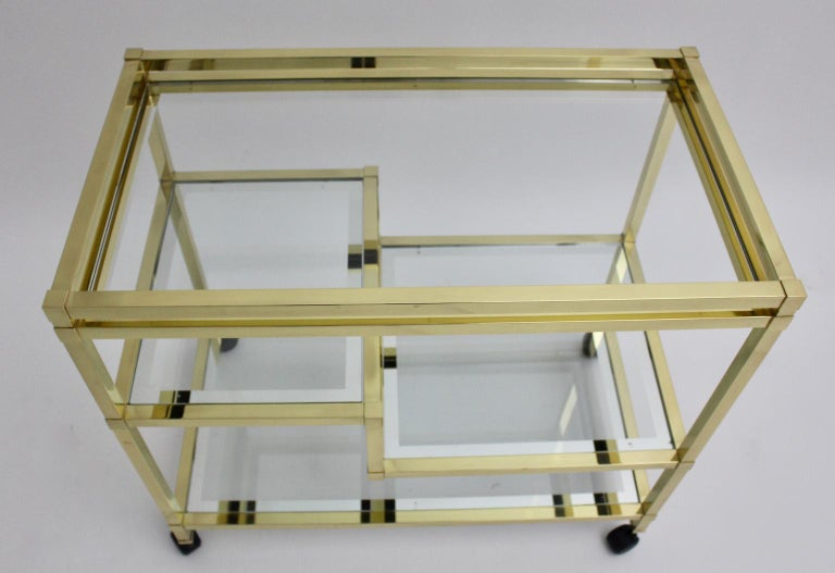 Golden Metal and Glass Vintage Bar Cart in the style of Romeo Rega Italy, 1970s For Sale 1