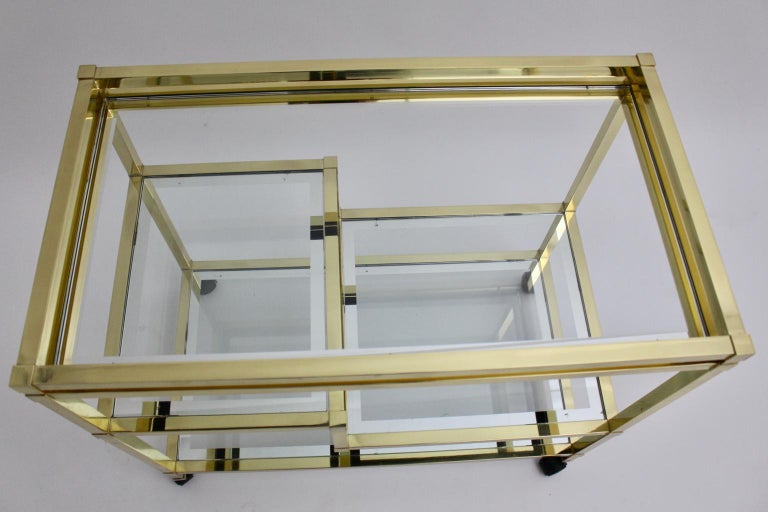 Golden Metal and Glass Vintage Bar Cart in the style of Romeo Rega Italy, 1970s For Sale 2