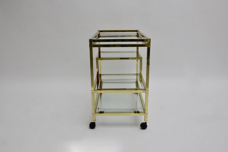 Golden Metal and Glass Vintage Bar Cart in the style of Romeo Rega Italy, 1970s For Sale 3