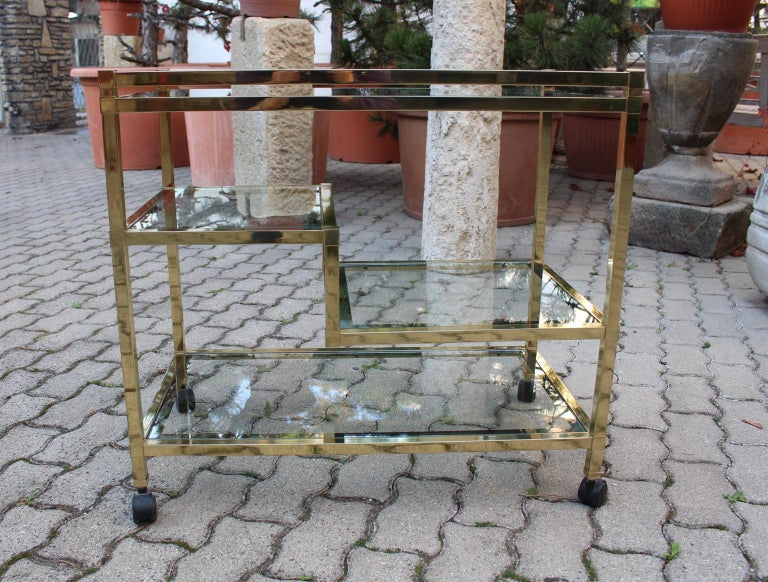 Golden Metal and Glass Vintage Bar Cart in the style of Romeo Rega Italy, 1970s For Sale 4