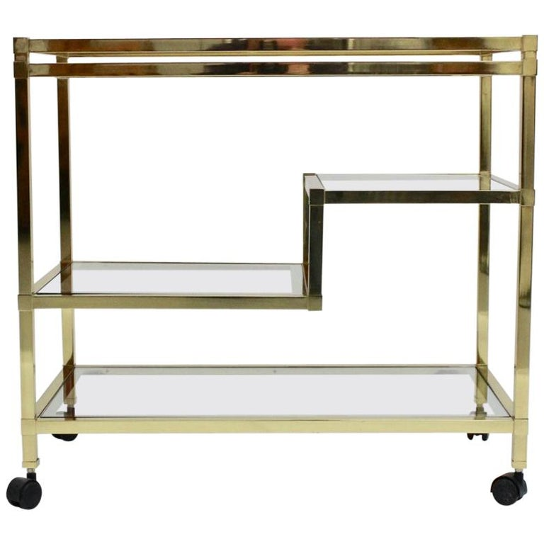 Golden Metal and Glass Vintage Bar Cart in the style of Romeo Rega Italy, 1970s For Sale
