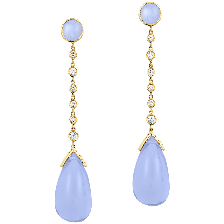Goshwara Blue Chalcedony Cabochon-Drop And Diamond Earrings
