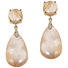 Golden Rutilated Cabochon Drop Earrings with Diamonds