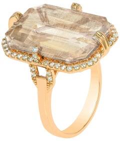 Goshwara Emerald Cut Golden Rutilated And Diamond Ring