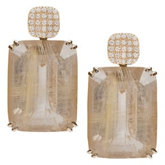 Golden Rutilated Old Cushion Earrings with Diamonds
