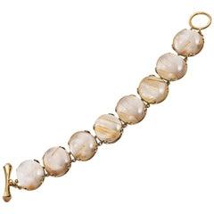 Golden Rutilated Oval Cabochon Bracelet