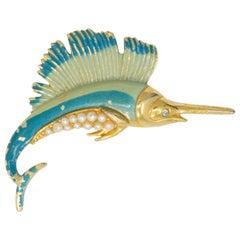Golden Sailfish Nautical Pin Brooch, Aqua Enamel and Faux Pearls
