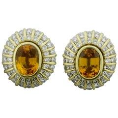Golden Sapphire and Diamond Clip Earrings in 18 Karat