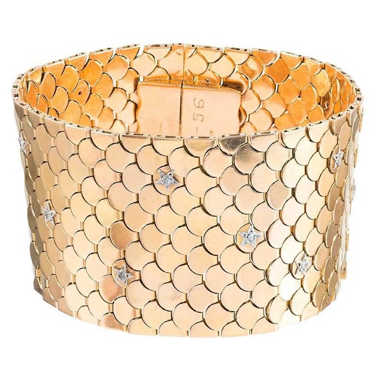 Golden Scalloped Bracelet with Diamond Stars, Dated 2-3-56