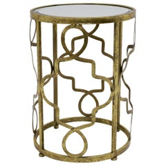 Golden Side Table with Mirrored Glass Top, Italy, 1980s