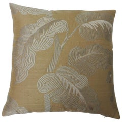 "Pair of Golden Silk Embroidery ""Royal Palm"" Silk Decorative Pillows"