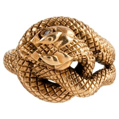 "Golden Snake Ring, Signed ""BaumF"""