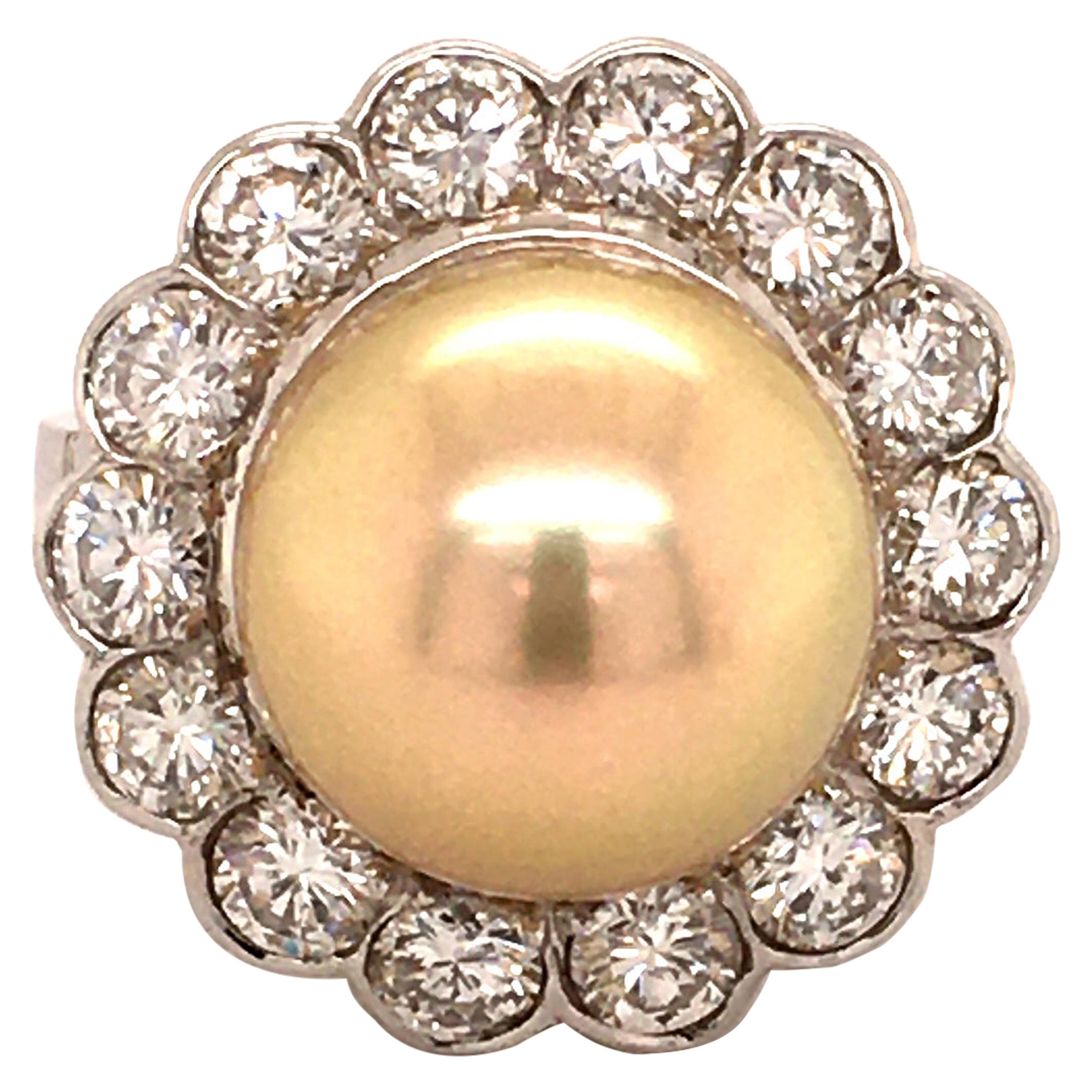 Golden South Sea Cultured Pearl and Diamond 14 Karat White Gold Ring