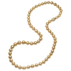 Golden South Sea Cultured Pearl, Sapphire and 18 Karat Gold Sautoir Necklace