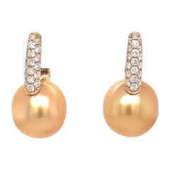 Golden South Sea Daimond Drop Earrings 0.61 Carat 18 Karat Yellow Gold