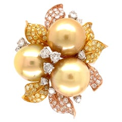 Golden South Sea Pearl and Diamond 3-Tone Gold Cocktail Ring Estate Fine Jewelry