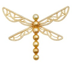 Golden South Sea Pearl and Diamond Brooch and Pendant