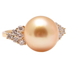 Golden South Sea Pearl and Diamond Cocktail Ring in 18 Carat Yellow Gold