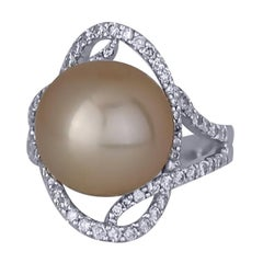 Golden South Sea Pearl and Diamond Ring