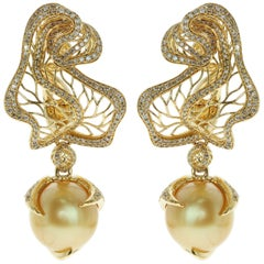 Golden South Sea Pearl Brown Diamond 18 Karat Yellow Gold Winter Cherry Earrings