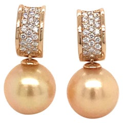 Golden South Sea Pearl Diamond Bar Drop Earrings 0.43 Carat 18 Karat Yellow Gold