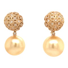 Golden South Sea Pearl Diamond Drop Earrings 0.30 Carat 18 Karat Yellow Gold