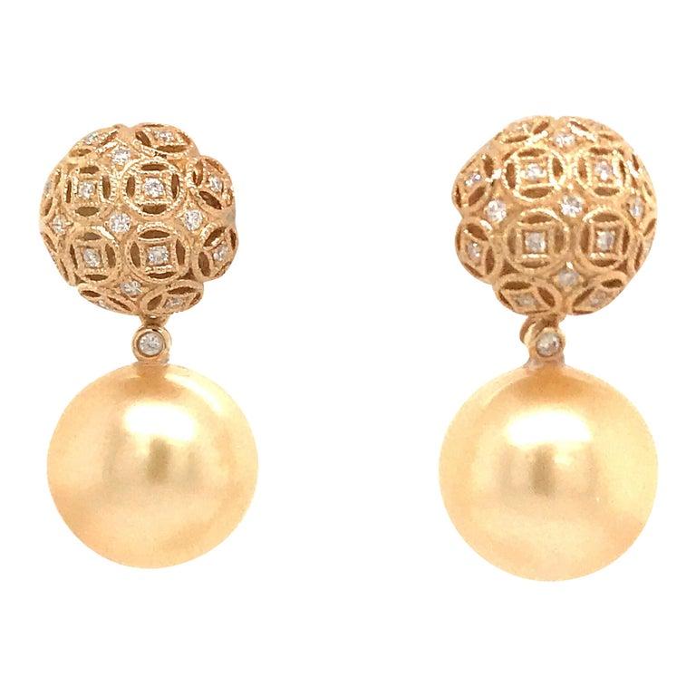 Golden South Sea Pearl Diamond Drop Earrings 0.30 Carat 18 Karat Yellow Gold For Sale