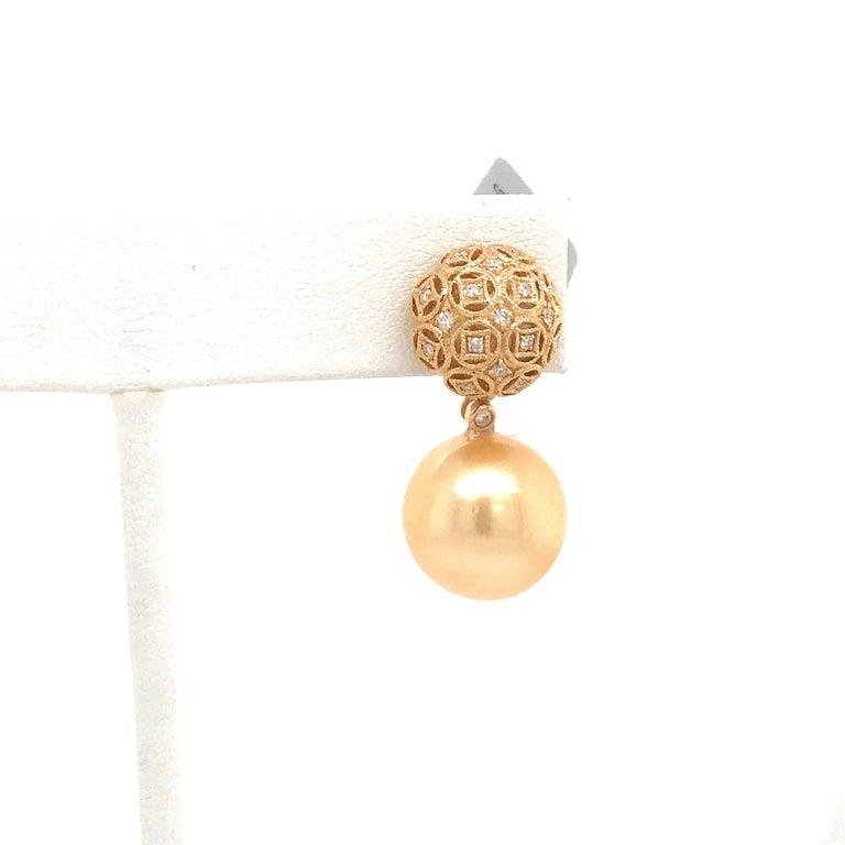 Contemporary Golden South Sea Pearl Diamond Drop Earrings 0.30 Carat 18 Karat Yellow Gold For Sale