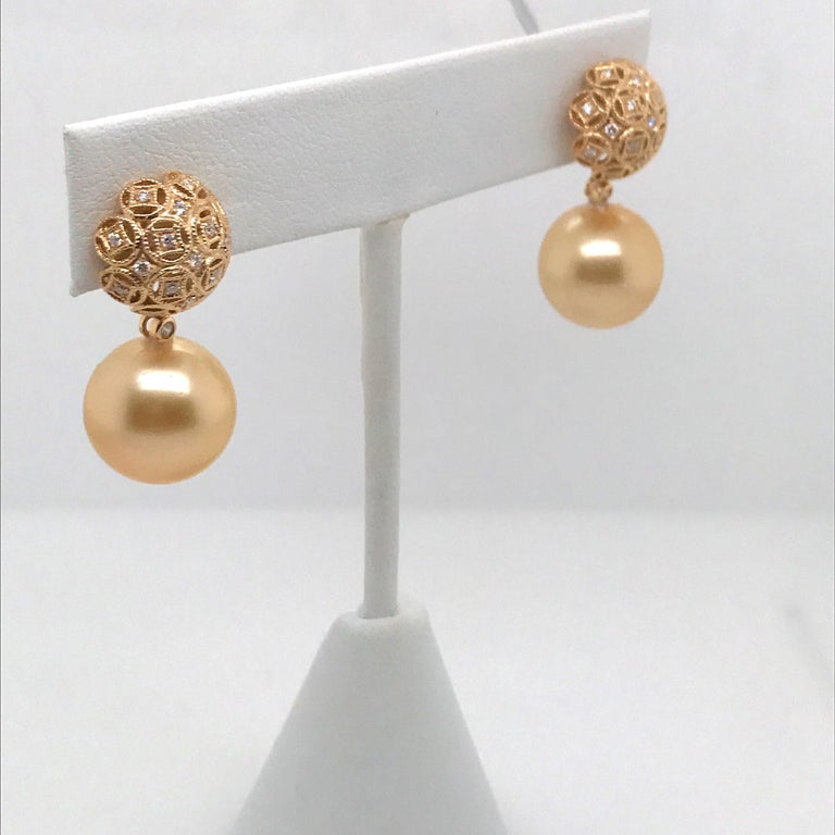 Golden South Sea Pearl Diamond Drop Earrings 0.30 Carat 18 Karat Yellow Gold In New Condition For Sale In New York, NY