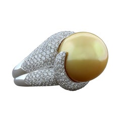 Golden South Sea Pearl Diamond Gold Cocktail Ring