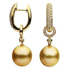 Golden South Sea Pearl Diamond Gold Dangle Earrings