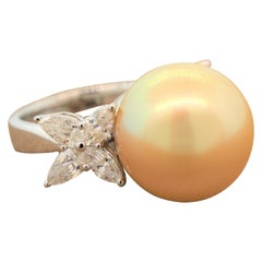 Golden South Sea Pearl Diamond Gold Ring