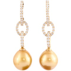 Golden South Sea Pearl Diamond Yellow Gold Hoop Dangle Earrings