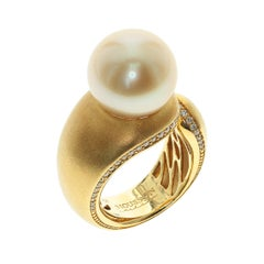 Golden South Sea Pearl Diamonds Cocktail Ring