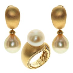 Golden South Sea Pearl Diamonds Dome Ring Earrings Suite