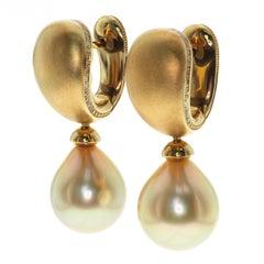 Golden South Sea Pearl Diamonds Drop Earrings